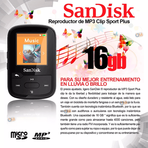 Reproductor Mp3 Sandisk Bluetooth Clip Sport Plus 16 Gb - comprar online