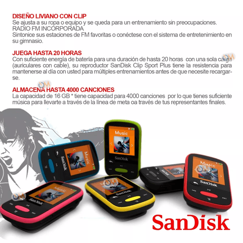 Reproductor Mp3 Sandisk Bluetooth Clip Sport Plus 16 Gb - OFERTAMAYOR