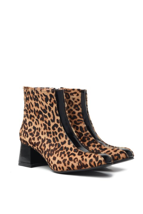 Bota Catherine Animal print y Negro
