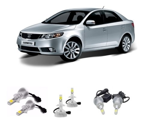 Kit Lampada Led Farol Super Led Kia Cerato + Foco