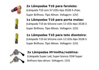 Kit Lampadas Internas + Milha Super Led Ford Ka 2018