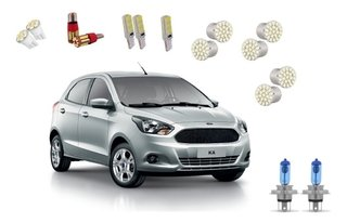 Kit Lampadas Led + Farois Super Branca Ford Ka 2018