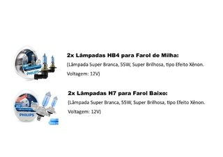Kit Lampadas Philips Crystal Vision Baixo/milha New Beetle