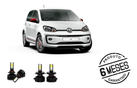 Kit Lampadas Super Led Tech One Farol + Milha Vw Up