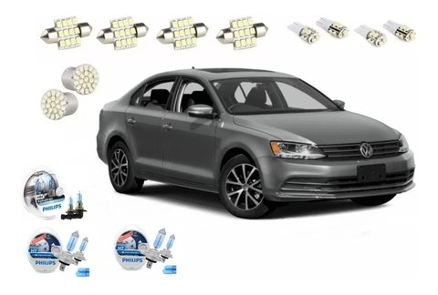 Kit Led + Philips Crystal Vision Alto Baixo Milha Jetta 2015