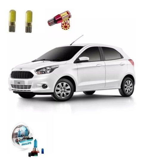 Kit Led + Philips Crystal Vision Farol De Milha Novo Ford Ka