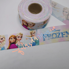 Fita gorgurão 38mm estampada personagem FROZEN