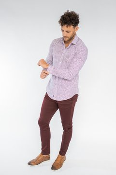 Camisa LUKE Slim Fit Bordó en internet