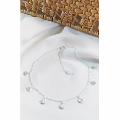 Colar chocker mini conchas do mar prata