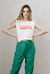 Camiseta cropped de malha muscle bordada guapa off white na internet