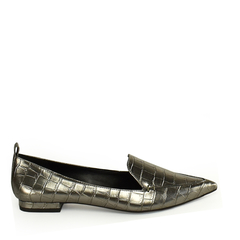 Sapatilha Loafer Croco Pewter
