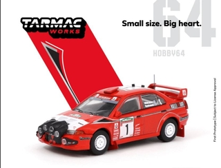 PRÉ VENDA Tarmac 1:64 Mitsubishi Lancer Evolution VI Monte Carlo Rally 2000 #1 Winner (cópia)