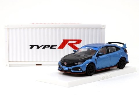 PRÉ VENDA Tarmac 1:64 Honda Civic Type R FK8 Brilliant Blue / Black Bonnet