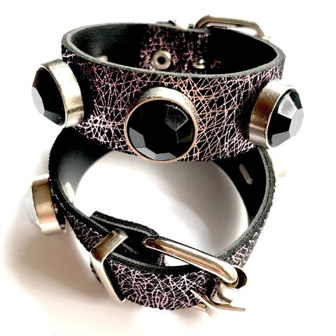 PULSERA LEATHER SHINE (negro)