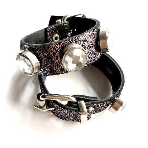 PULSERA LEATHER SHINE (cristal)