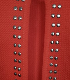 Chaqueta Roja Tachas Bronce - Talle Unico (S/M) - comprar online