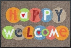 Capacho lava e seca Wash Dry Design - Happy Welcome