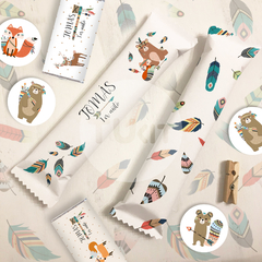 Kit imprimible animalitos del bosque tribal tipi candy bar tukit