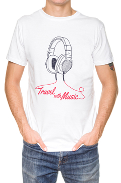 REMERA - TRAVEL WITH MUSIC - BLANCA - comprar online