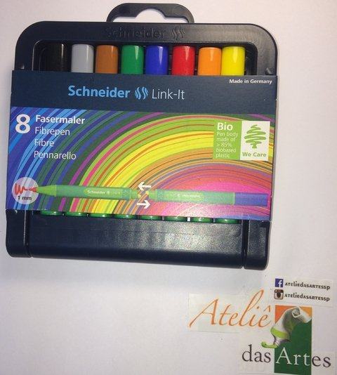 Caneta Link-It Fineline 1,0 Schneider - kit 8 canetas