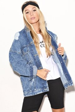Campera Denim Rigida Oversize con Roturas en internet