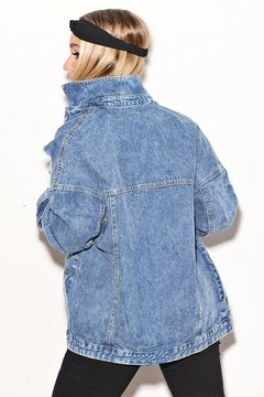 Campera Denim Rigida Oversize con Roturas - Shaina Trendy Store