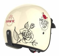 Casco Moto Hawk 721 Abierto Vintage Never Give Up Oficial en internet