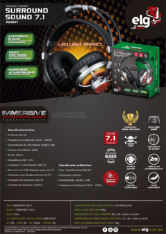 HEADSET GAMER 7.1 SURROUND CHANNEL C/ MICROFONE - L -  HGSS71 - comprar online