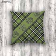 Celtic Skulls on Green Plaid Cushion Cover on internet