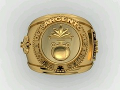 Artillery ring of the School of arms sergeants in 18k yellow gold - buy online