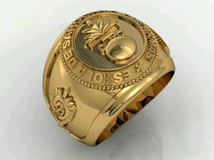 Artillery ring of the School of arms sergeants in 18k yellow gold -  Ginglass personalização de joias