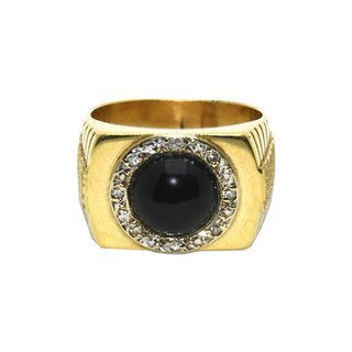 Anillo sello con ónix central y corona de brillantes de oro 18 kilates #35807783