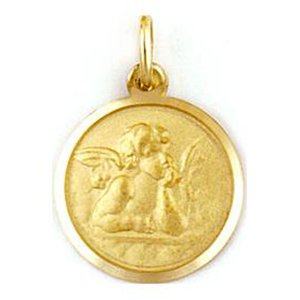 Medalla de oro 18 Kilates Angel De La Guarda 15mm #MED0261