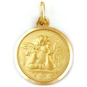 Medalla de oro 18 Kilates Angel De La Guarda 17mm #MED0262