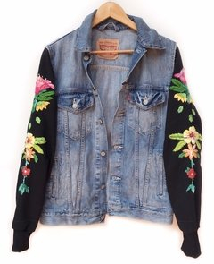 campera de jean bordada