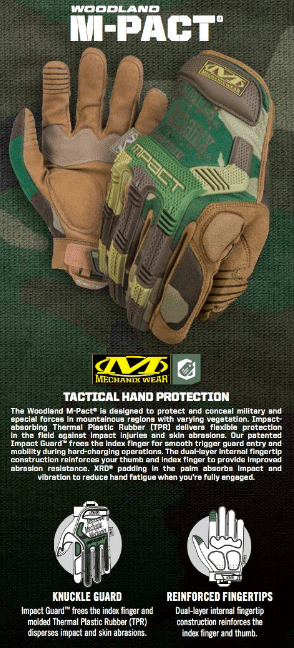 GUANTES TACTICOS M-PACT WOODLAND MECHANIX TAMAÑO L en internet