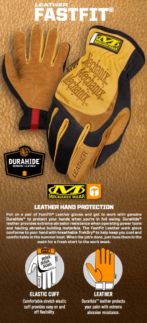 GUANTES FASTFIT LEATHER MECHANIX TAMAÑO XL - AYR Tools