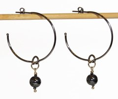 Lilly black rhodium earrings with hematite pendant