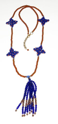 Barroco necklace blue Czech crystals and porcelains
