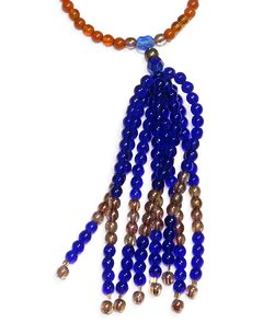Barroco necklace blue Czech crystals and porcelains - buy online