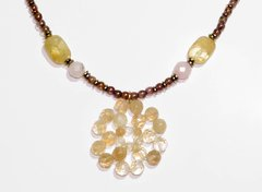 Flora Necklace natural yellow and pink stones - buy online