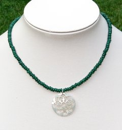 Talisman Necklace in jade and motherpearl pendant