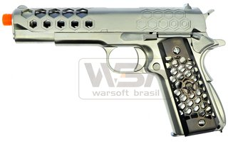 PISTOLA DE AIRSOFT WE 1911 HEX CUT CHROME
