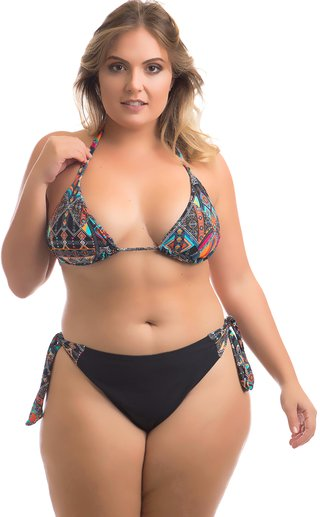 BIQUÍNI CORTININHA MIKONOS  PLUS SIZE MARRAKESH ACQUA ROSA