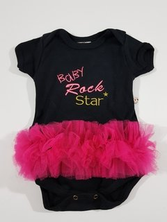 Body Bebê Preto Rock Star