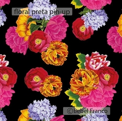 TECIDO BF FLORAL PRETO PIN-UP