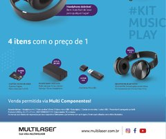 Kit Music Play Headphone Bluetooth SD/AUX/FM + Power Bank 4000 mAh + Leitor USB + Micro SD 32GB C10 - MC250 - loja online