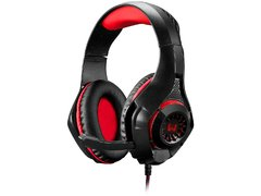 Headset Gamer Warrior Rama P3+USB Stereo Adaptador P2 LED Vermelho
