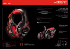 Headset Gamer Warrior Rama P3+USB Stereo Adaptador P2 LED Vermelho - EletroVip