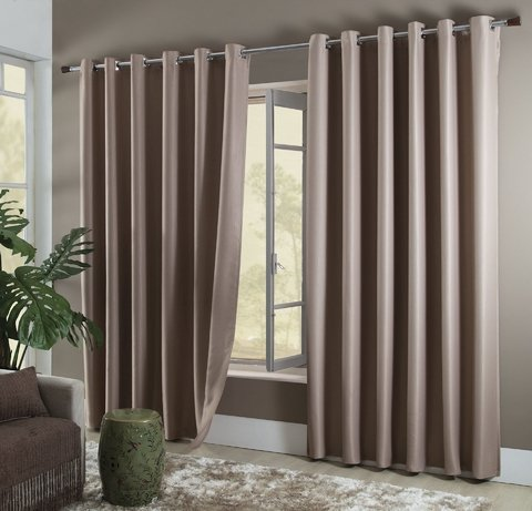 Cortina Blackout com Ilhos 3x2,50m Classique Naturalle Chocolate Sultan